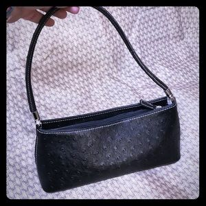 Handbags - Black faux ostrich print small handbag